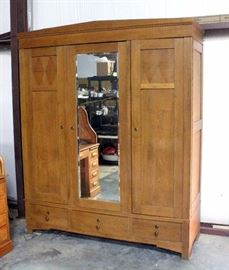 "Knock Down Wardrobe / Armoire, Beveled Glass Mirror Front, Dovetail Constructed Drawers, Inlaid Diamond Pattern, 71""W x 87""H x 24""D"