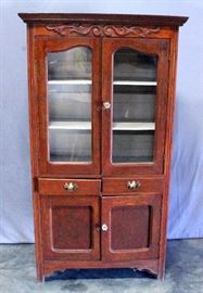 "Pie Safe Cabinet, Pierced Wood Sides, Glass Front Doors, Dovetail Constructed Drawers, 40""W x 74.5""H x 16""D"