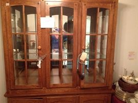 Oak China Cabinet - Lighted