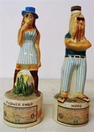 1970s Flower Child/Hippie Decanters