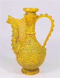 Lot 7: Zsolnay Yellow Textured Ceramic Ewer