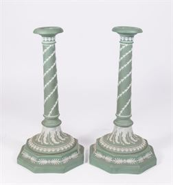 Lot 16: Pair Wedgwood Green & White Candlesticks