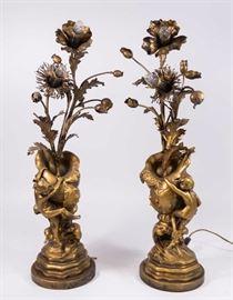 Lot 20: Pair Belle Epoque Figural Metal 2-Light Candelabra