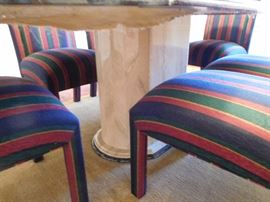 Base  of  table-    set  of   red  and  blue  chairs