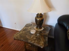 marble  table  and   lamp