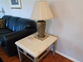 faux  stone  top  table  and  lamp