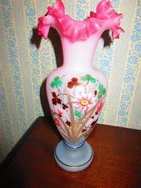 Enameled Victorian Bristol Vase