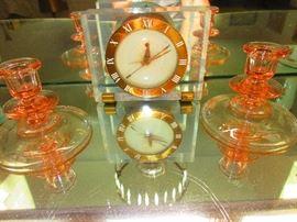 Art Deco Clock & Depression Glass Candlesticks
