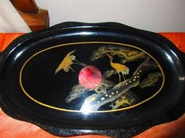 Antique French Chinoiserie Paper Mache Tray