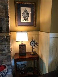 framed art, small accent table (lamp and clock are not for sale)