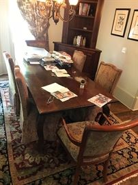 Informal dining room table with 6-chairs (two wood framed arm chairs, four high-back upholstered)