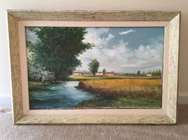 Original Peruvian Oil Paintings - Lake  - Signed - Balsa Wood Frames