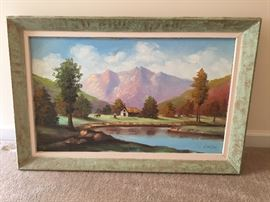 Original  Peruvian Oil Painting - Lake - Signed - Balsa Wood Frames