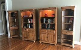 Pine Cabinets with lights and two corner cabinets.