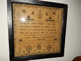 Sampler from 1821 - Bonsall, Derbyshire - England
