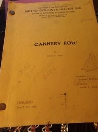 Original signed screenplay from Cannery row