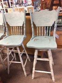 Two Wood Bar Stools Annie Sloan Paint
