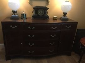 Fancher Furniture Genuine Mahogany Buffet Bow Font Inlaid