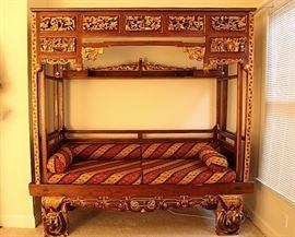 Impressive carved Asian bed