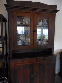 Antique Oak, Hutch, Storage, 2 Drawer. Cabinet. Original Hardware, Glass Panes.