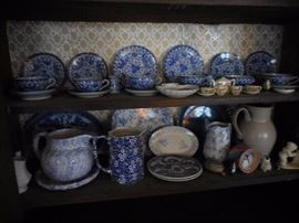 Calico Staffordshire Chintz Blue/White. Splatter Ware