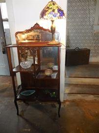 Antique Fretwork Mahogany Shelf, Beveled Mirror