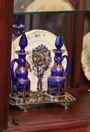 beautiful cobalt glass cruet set in silver plated holder