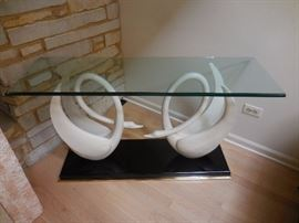 Walter E Smith Hand Carved Swan(s),3/4 Inch thick Glass Top, Entry Way Table