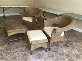 2 rattan chairs and ottoman