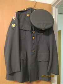 Military Uniform with patches and Hat