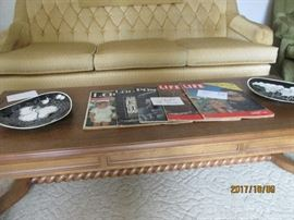 Retro Coffee Table with plates and magazine