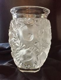 "LALIQUE 7"" Vase, Birds and Leaves"