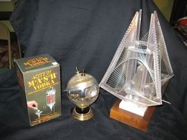 Mash Vodka dispenser,new in box.  Sputnik clock.  String art lamp