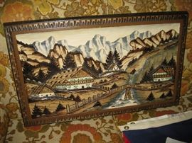 Carved and Inlaid Wood Swiss Chalet Wall Decor