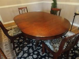 Drexel Mahogany Dining Table with Harp Chairs