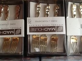 gold tone plastic forks and spoons