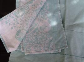 "vintage linen ""tea set' napkins and tablecloth"