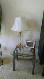 glass top end tables , table lamps