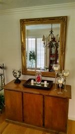 nice large gold mirror  sideboard , home decor candles