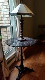 Brass and marble table; art deco brass and glass lamp