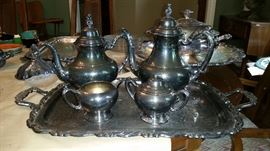 Heavy silver plate coffee and tea service