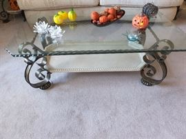 glass top, metal base coffee table with lower tray