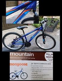 24 inch Boys Camprock Mongoose mountain bike with 21 speeds