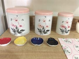 Vintage canisters, vintage nut dishes