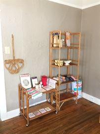 Midcentury Lane Rattan bar cart, antique rattan and cane bookshelf
