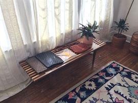 Midcentury style slat bench