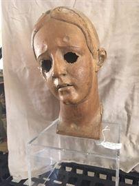 "Head of a Spanish Colonial Santo, Peru 19c. 12""  $400"