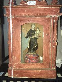 Small figure of San Antenio de Padua in red 19c Nicho $500