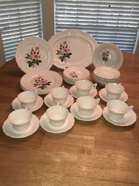 Vintage Mt. Clemons Pottery Dinnerware. White Rosemont (MTCROS) and matching White with Pink Roses (MTC67)