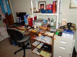 desk & chair, file cabinet